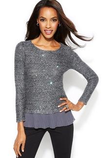 Alfani Petite Chiffon-Hem Marled Sequin Sweater