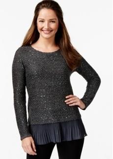 Alfani Petite Chiffon-Hem Sequin Knit Top
