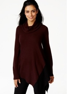 Alfani Petite Cowl-Neck Asymmetrical-Hem Sweater, Only at Macy's