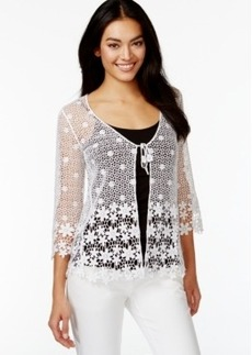 Alfani Petite Crochet-Lace Cardigan, Only at Macy's