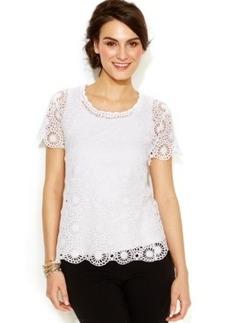 Alfani Petite Crochet Lace Scalloped Top