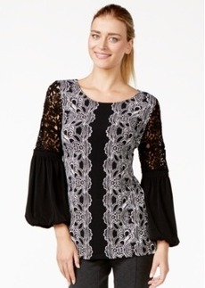 Alfani Crochet-Sleeve Printed Top, Only at Macy's