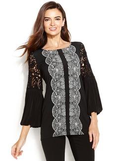 Alfani Petite Crochet-Sleeve Printed Tunic