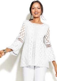 Alfani Petite Crochet-Trim Lace Tunic