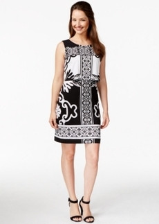 Alfani Petite Crop-Overlay Printed Dress, Only at Macy's