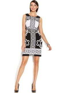 Alfani Petite Cropped Overlay Scroll-Print Dress