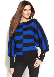 Alfani Petite Dolman-Sleeve Striped Sweater