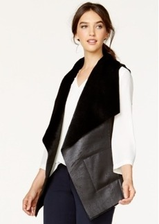 Alfani Draped Faux-Shearling Vest, Only at Macy's