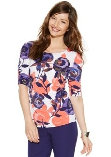 Alfani Petite Elbow-Sleeve Floral Ruched Top
