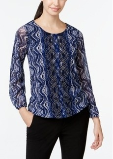 Alfani Embellished Mesh Top, Only at Macy's