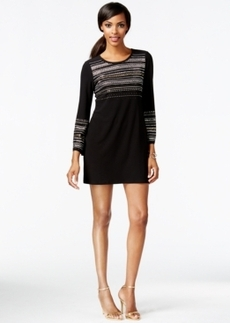 Alfani Embellished Long-Sleeve Shift Dress, Only at Macy's
