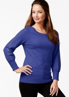 Alfani Petite Embellished-Sleeve Sweater, Only at Macy's