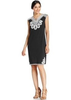 Alfani Plus Size Embroidered Shift Dress