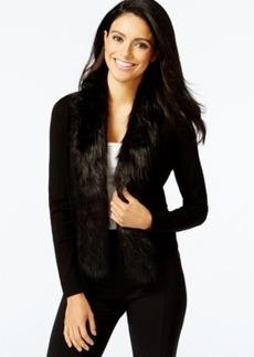 Alfani Petite Faux-Fur Trim Cardigan, Only at Macy's