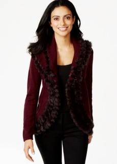 Alfani Petite Faux-Fur-Trim Cardigan Sweater, Only at Macy's