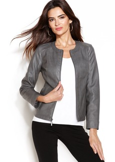 Alfani Petite Faux-Leather Perforated Jacket