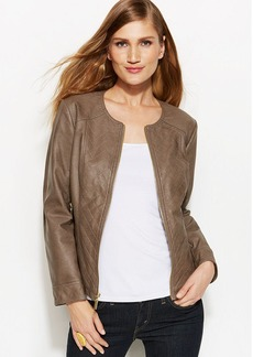 Alfani Petite Faux-Leather Quilted Jacket