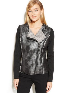 Alfani Petite Faux-Leather Shearling Moto Jacket