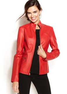 Alfani Petite Faux-Leather Zip-Up Jacket
