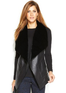Alfani Petite Faux-Shearling Draped Vest