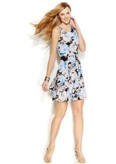 Alfani Petite Fit & Flare Floral Scuba Dress