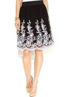 Alfani Petite Floral Embroidered A-Line Skirt
