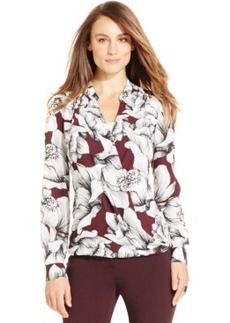 Alfani Petite Floral-Print Faux-Wrap Top, Only at Macy's