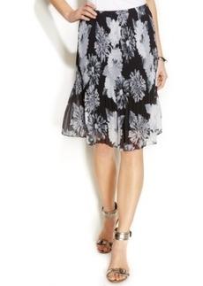 Alfani Petite Floral-Print Pleated Chiffon Skirt