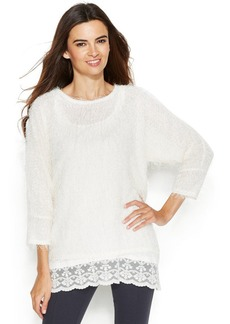Alfani Fuzzy Sequin Lace-Hem Sweater