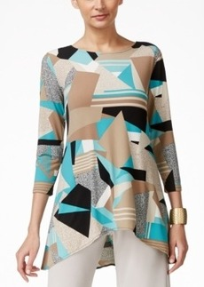 Alfani Geo-Print Jersey Swing Top, Only at Macy's