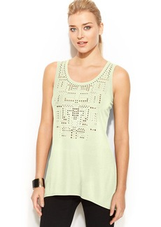 Alfani Petite High-Low Studded Tank Top