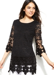 Alfani Petite Illusion-Sleeve Crochet Lace Top