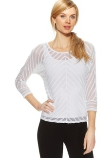 Alfani Petite Illusion-Stripe Mesh Sweater