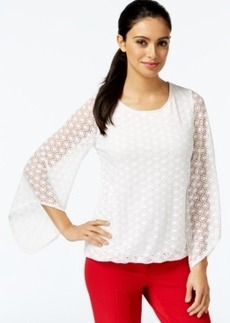 Alfani Petite Lace Angel-Sleeve Top, Only at Macy's