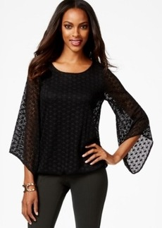 Alfani Petite Lace Bubble-Hem Top with Flared Sleeves, Only at Macy's