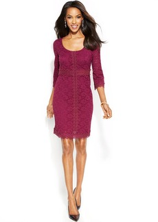 Alfani Petite Lace Crochet-Trim Sheath Dress