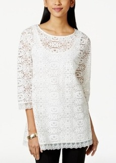 Alfani Petite Lace Scalloped-Hem Blouse, Only at Macy's