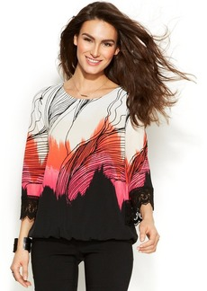 Alfani Lace-Trim Printed Blouson Top