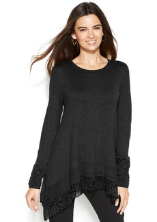 Alfani Petite Lace-Trim Sharkbite-Hem Sweater