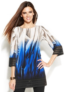 Alfani Petite Laser-Cut-Trim Abstract Tunic