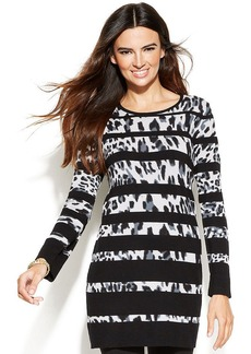 Alfani Petite Leopard-Stripe Tunic Sweater