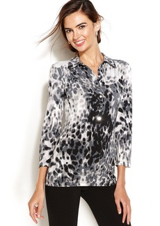 Alfani Petite Long-Sleeve Printed Polo Top