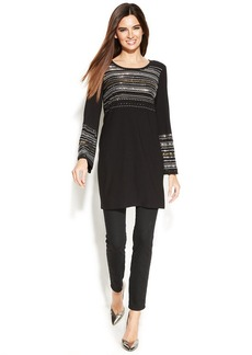 Alfani Petite Long-Sleeve Studded Tunic