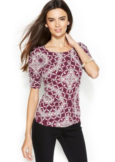 Alfani Petite Medallion-Print Ruched Top
