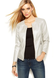 Alfani Petite Metallic Faux-Leather Jacket