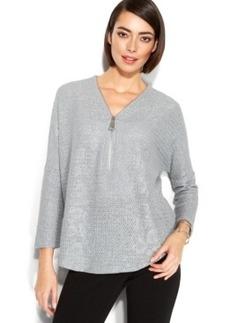 Alfani Petite Metallic-Knit Zip-Neck Top
