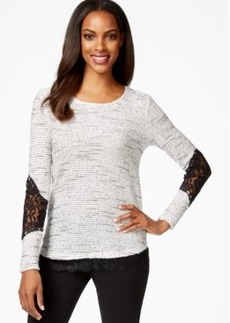 Alfani Petite Metallic Marled Pullover Sweater with Lace Trim, Only at Macy's