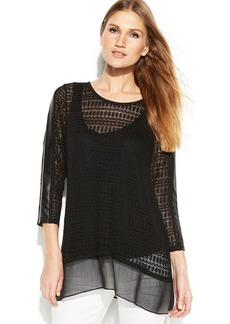 Alfani Petite Mixed-Media Knit Top