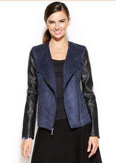 Alfani Petite Mixed-Media Moto Jacket