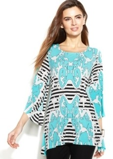 Alfani Petite Mixed-Print Sharkbite Tunic